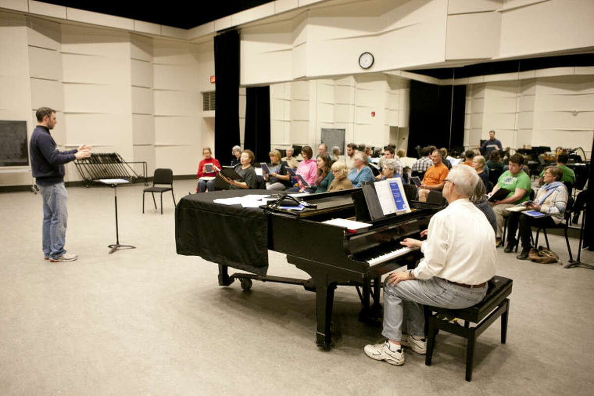 The Allegro Chorale, under the direction of Cory Alexander, rehearses Monday at the Wagner Noel Performing Arts Center. James Durbin/Reporter-Telegram