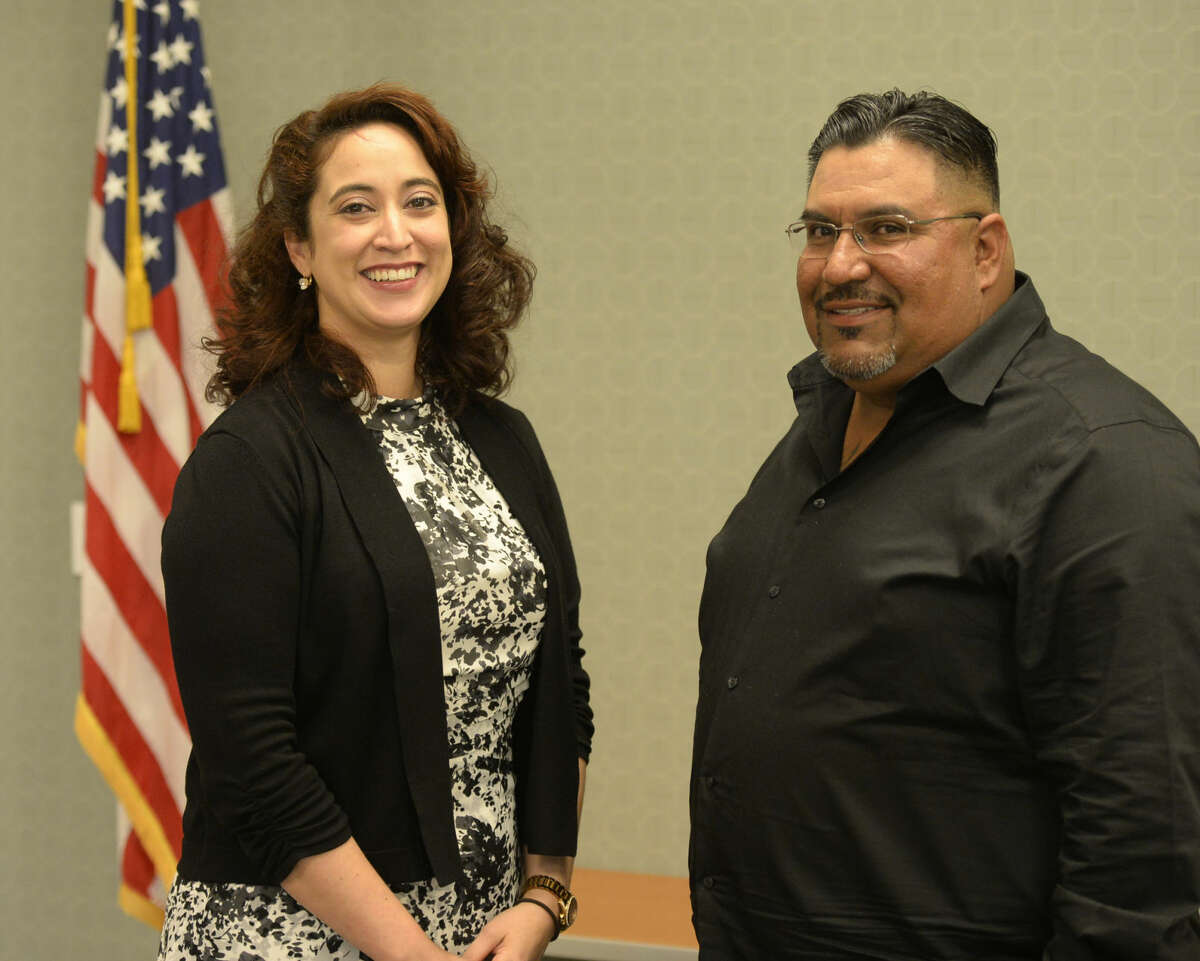 MC Green Zone hosted a session with military veteran speakers Jessica Saenz, formerly of the U.S. Army, and and John Rosales, formerly of the U.S. Marines, on Wednesday, April 13, 2016 in the Carrasco Room of the Midland College campus. James Durbin/Reporter-Telegram