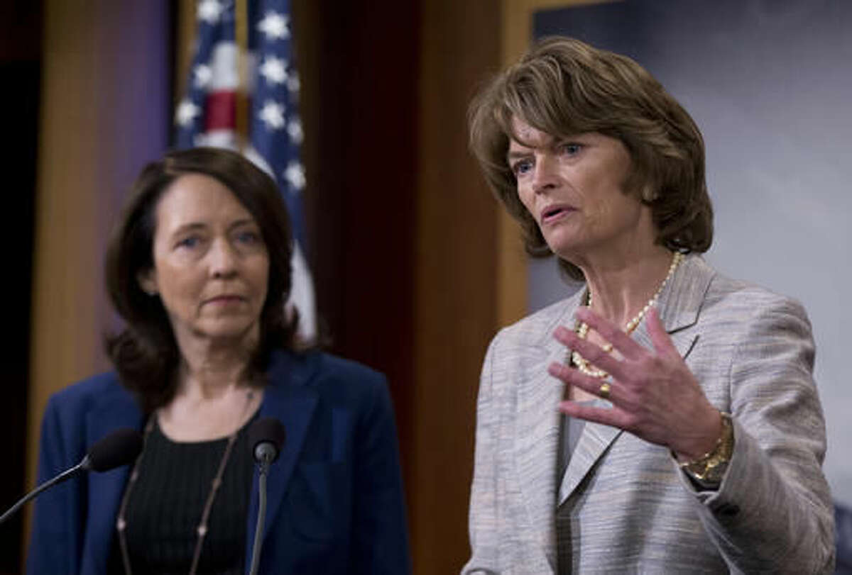 Senate Energy and Natural Resources Committee Chair Sen. Lisa Murkowski, R-Alaska, right, accompanied by the committee's ranking member, Sen. Maria Cantwell, D-Wash., speak about energy policy modernization during a news conference on Capitol Hill in Washington, Wednesday, April 20, 2016. The Senate approved a wide-ranging energy bill Wednesday, April 20, 2016, that would promote a variety of energy sources and speed federal approval of projects to export liquefied natural gas to Europe and Asia. (AP Photo/Manuel Balce Ceneta)