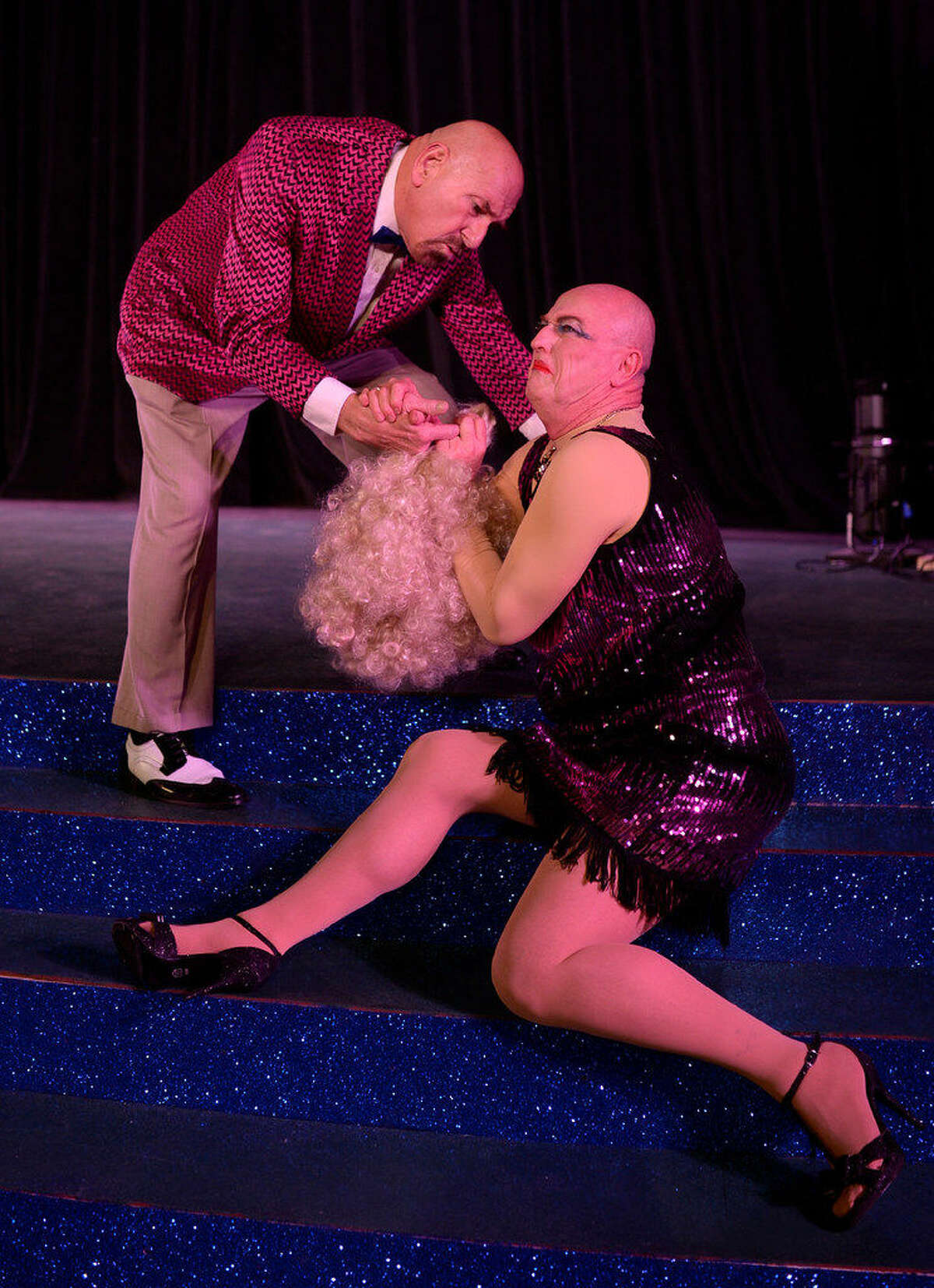 Bill Kersh, standing, and Michael Fields appear as Georges and Jacob in 'La Cage aux Folles.'