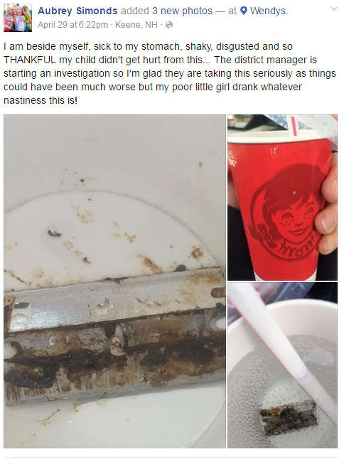 A New Hampshire woman said she found a razor blade in her daughter's soda at a local Wendy's. She posted photos on Facebook.
