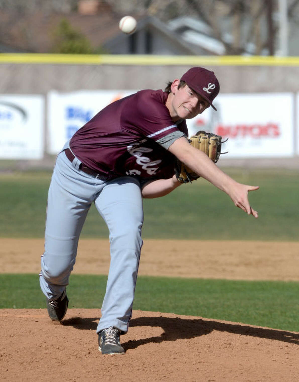 Lee's Kohl Fritschen pitches against San Angelo Central on Tuesday at Ernie Johnson Field. James Durbin/Reporter-Telegram