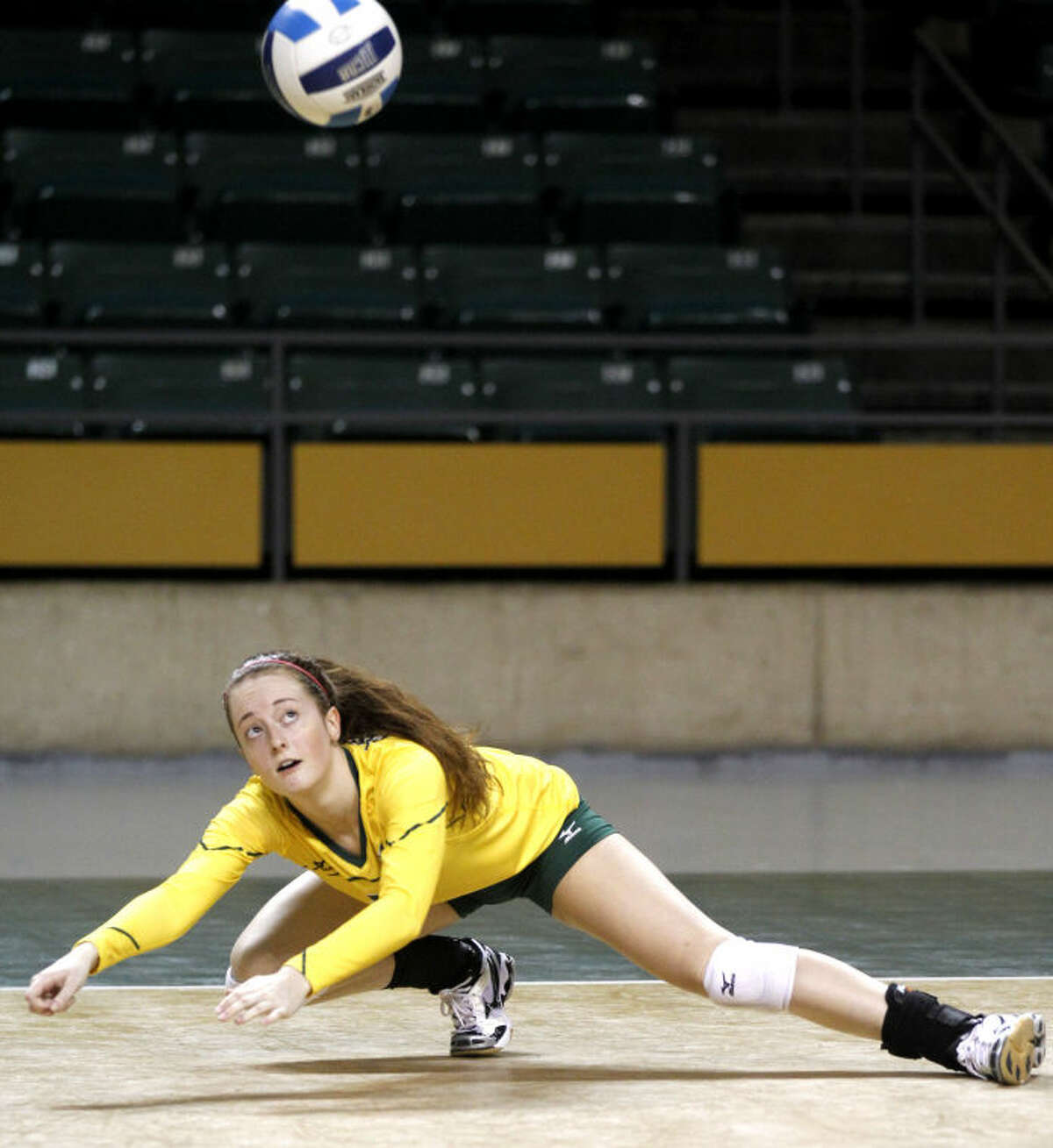 Midland College's Kristina Gafford dives to keep the ball in play against Western Texas on Saturday at Chaparral Center. James Durbin/Reporter-Telegram