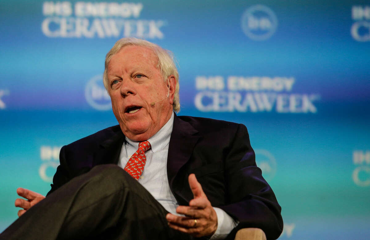 Richard D. Kinder Chairman of the Board and CEO of Kinder Morgan, Inc. during the luncheon keynote IHS Energy CERAWeek Wednesday April 22, 2015 at the Hilton Americas-Houston. (Billy Smith II / Houston Chronicle)