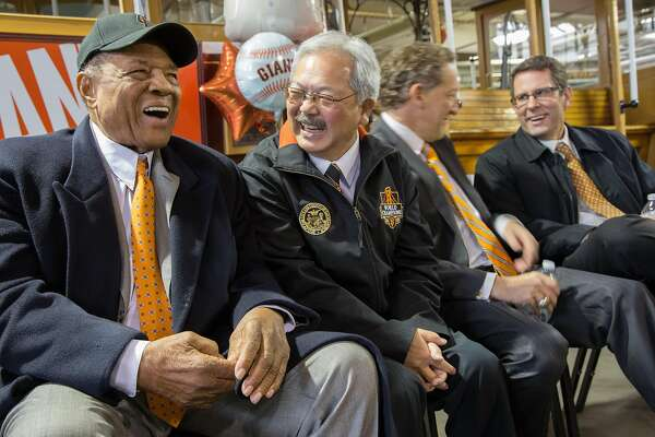 Willie Mays has a laugh with Mayor Ed Lee at the Cable Car Museum on Friday, May 6, 2016 in San Francisco, Calif. Mays, a San Francisco Giants legend and Baseball Hall of Famer, turned 85 today. Cable car No. 24, the same number he wore when he played for the S.F. Giants, was dedicated and named after Mays.