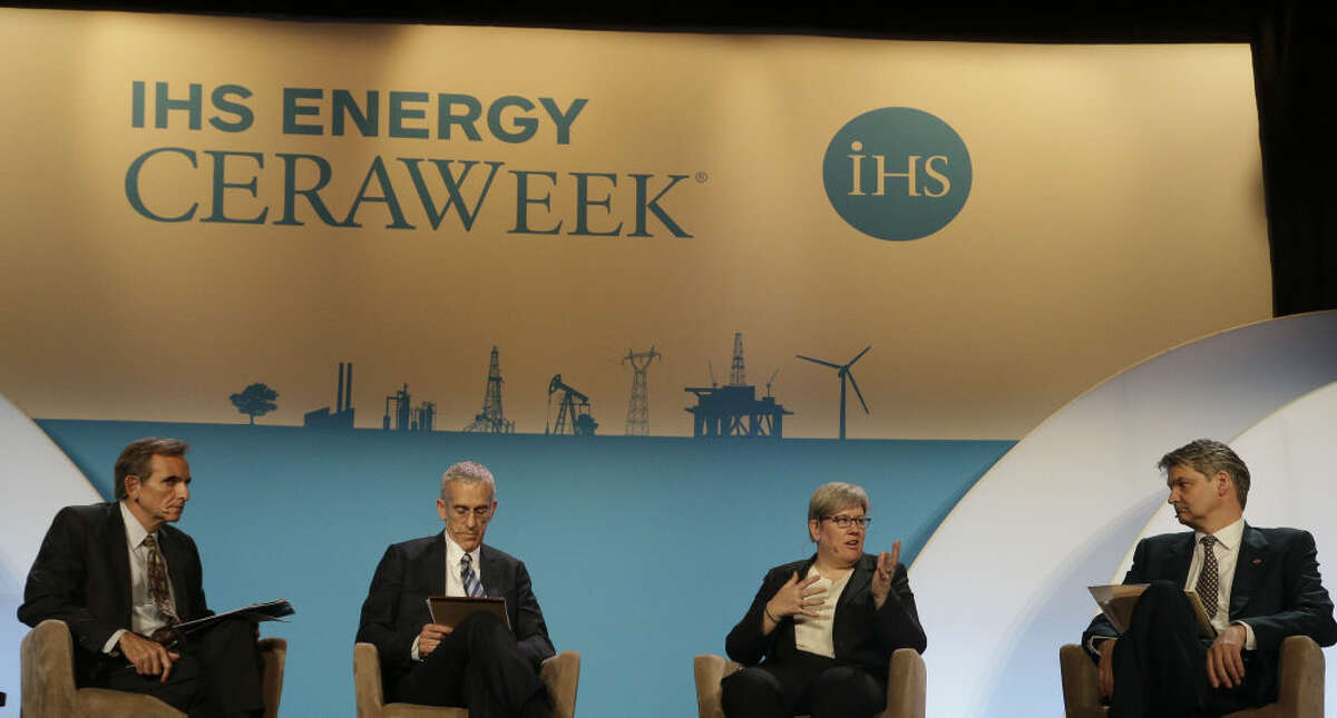 (l-r) Carlos Pascual, Senior Vice President, IHS, Todd D. Stern the Special Envoy for Climate Change at the US State Department, Rachel Kyte World Bank Group's vice president and special envoy for climate change, Stephen Lovegrove Permanent Secretary of the UK Department of Energy and Climate Change speak at the IHS Energy CERAWeek Thursday April 23, 2015 at the Hilton Americas-Houston. (Billy Smith II / Houston Chronicle)