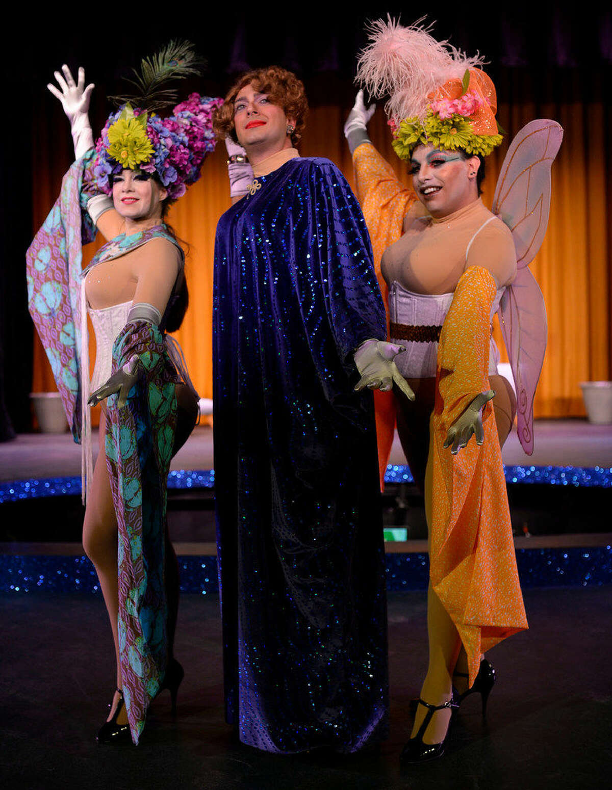 There will be drag: Zaza (Mitchell Smith, center) is surrounded by Cagelles Mercedes (Samatha Spencer, left) and Pheadra (Max Vis) for MCT's 'La Cage aux Folles.'