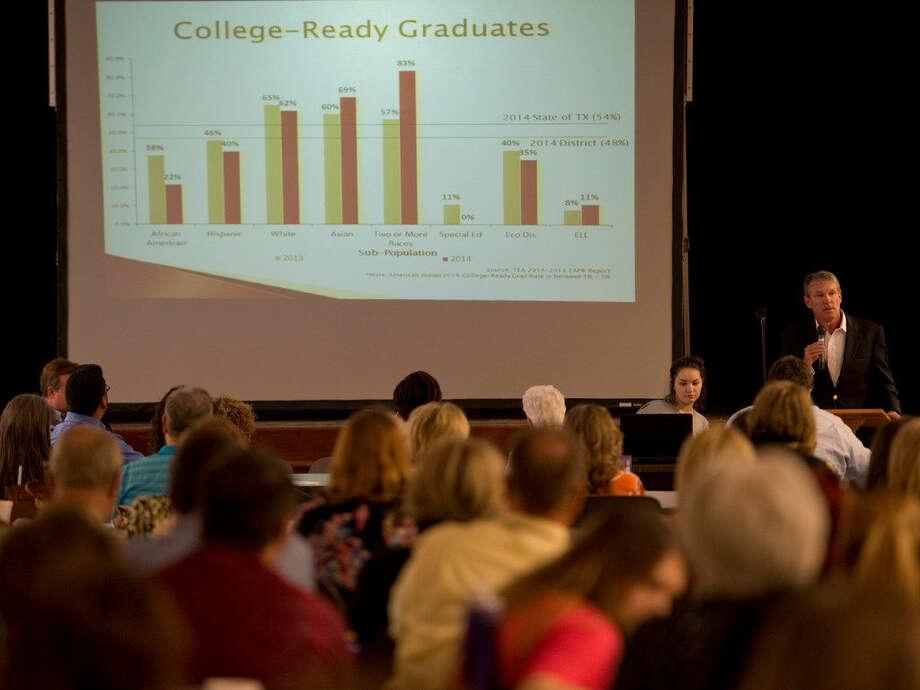 MISDboard president Rick Davis speaks Thursday 04-07-16 at the second Educate Midland community meeting. Tim Fischer\Reporter-Telegram