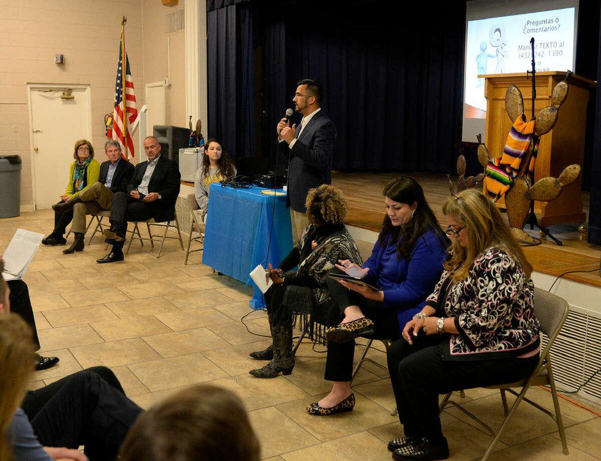public meeting on the EducateMidlandcommunity collaboration, Tuesday, April 12, 2016, at the Hispanic Cultural Center. James Durbin/Reporter-Telegram