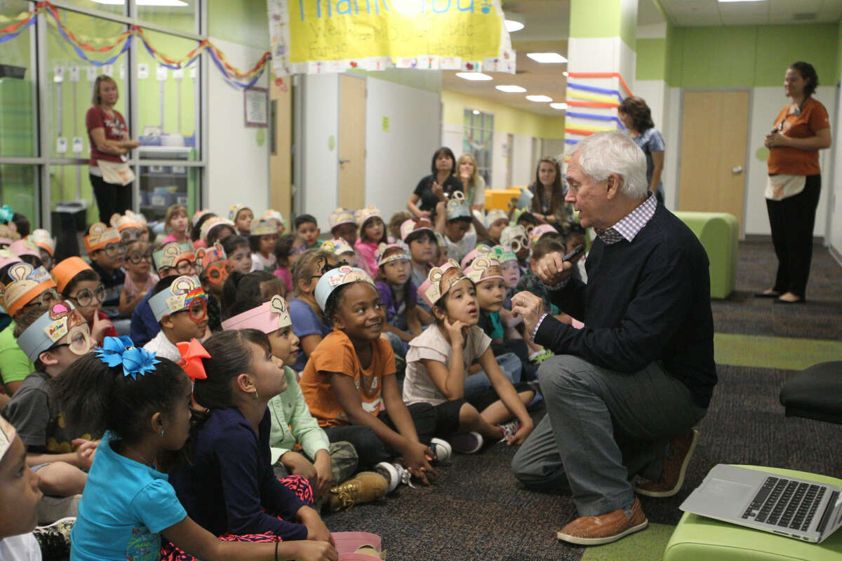 Project Literacy 2015 launched from Washington Park and traveled to Bunche Elementary on Monday, Sept. 14, 2015. Marc Brown, author of the