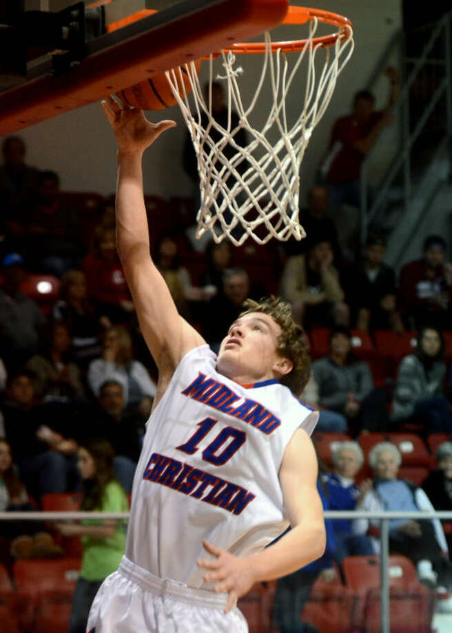 Midland Christian's Grant Little (10) makes a layup against Fort Worth Christian on Friday at McGraw Special Events Center. James Durbin/Reporter-Telegram Photo: JAMES DURBIN