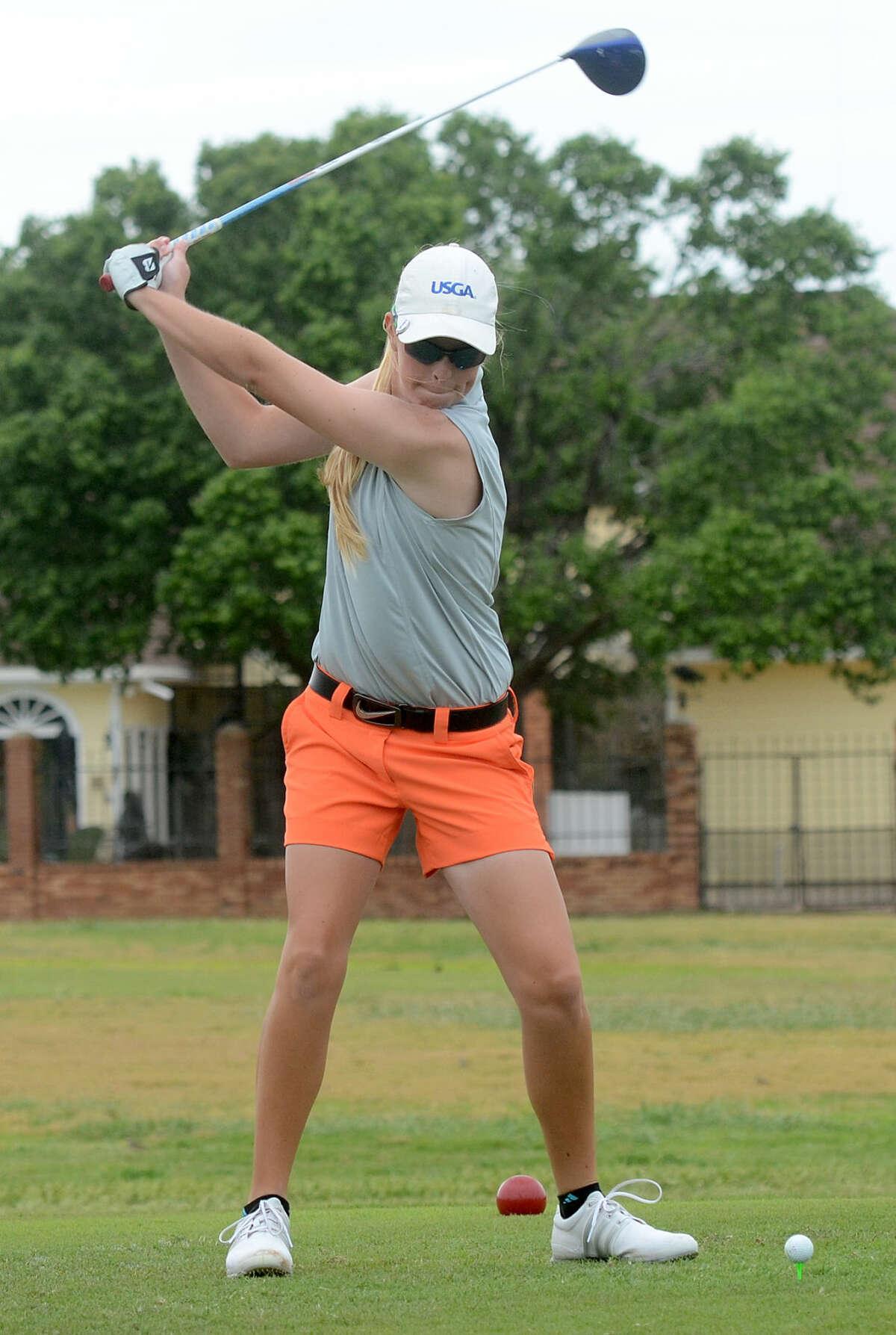 Andrews' Kallie Jennings during practice Thursday, April 23, 2015, at Green Tree Country Club. James Durbin/Reporter-Telegram