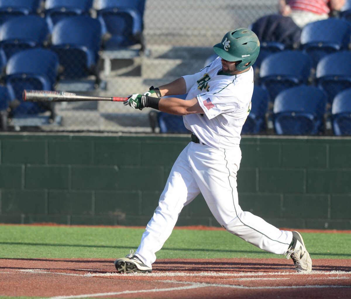Midland College's Justin Clarkson hits against New Mexico Military Institute on Friday, April 24, 2015, at Christensen Stadium. James Durbin/Reporter-Telegram