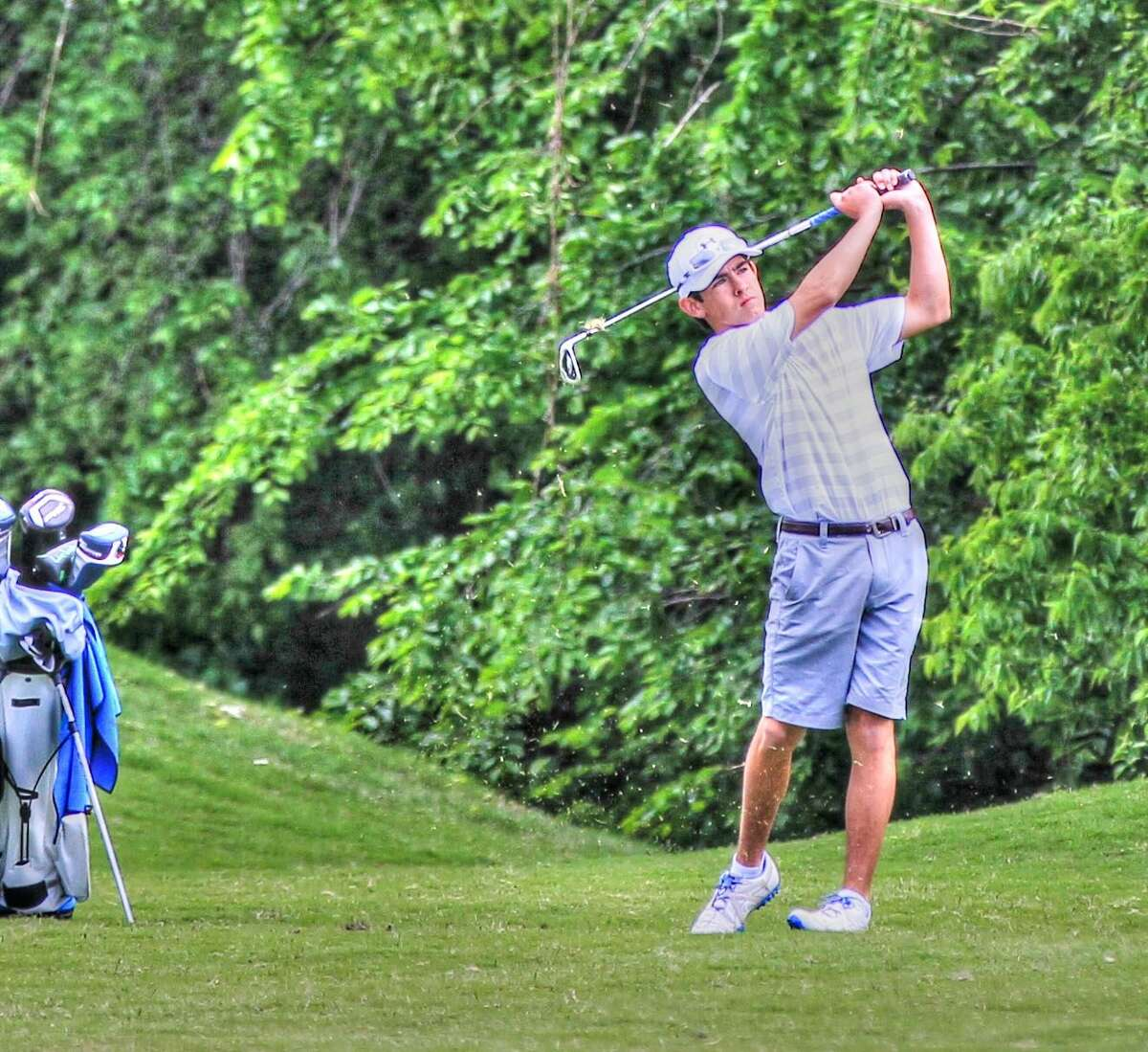 Trinity freshman golfer Austin Escamilla is shown here during the TAPPS 3A North Region Tournament at Canyon West Golf Club in Weatherford on Tuesday, April 21. Courtesy photo