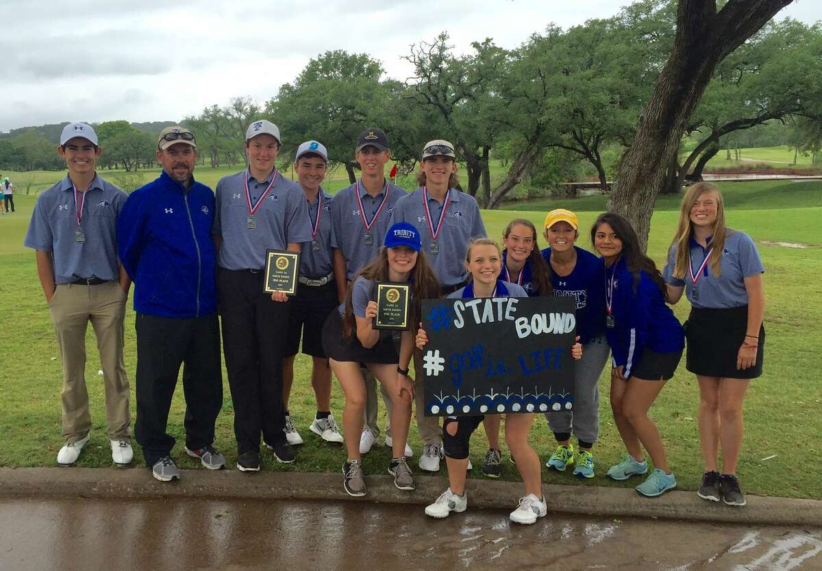 The Trinity boys and girls golf teams pose with their awards after qualifying for state during Monday's TAPPS 3A North Regional in Glen Rose. Courtesy photo.