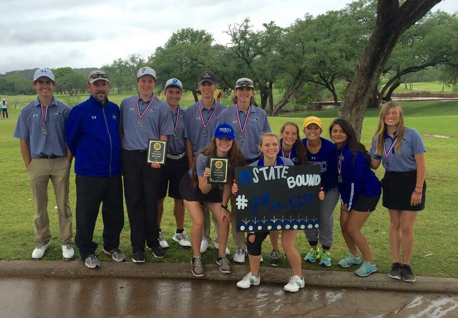 The Trinity boys and girls golf teams pose with their awards after qualifying for state during Monday's TAPPS 3A North Regional in Glen Rose. Courtesy photo. Photo: Courtesy Photo