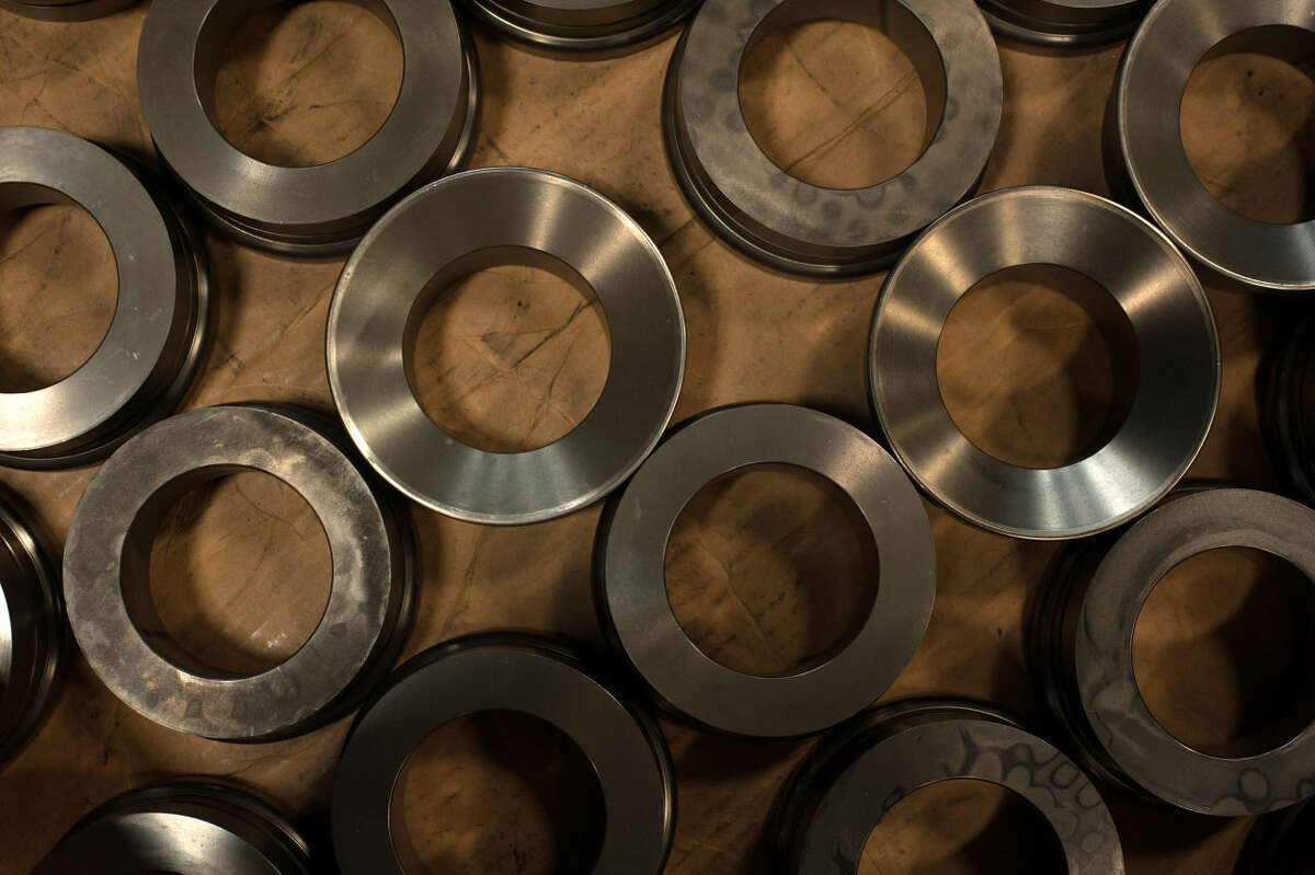 FORT WORTH, TX - AUGUST 14: Parts used for FTS International's Fort Worth manufacturing facility's high pressure pumps are seen stored in the company's machine shop on Thursday, August 14, 2014 in Fort Worth, Texas. (Brandon Thibodeaux / Chronicle)