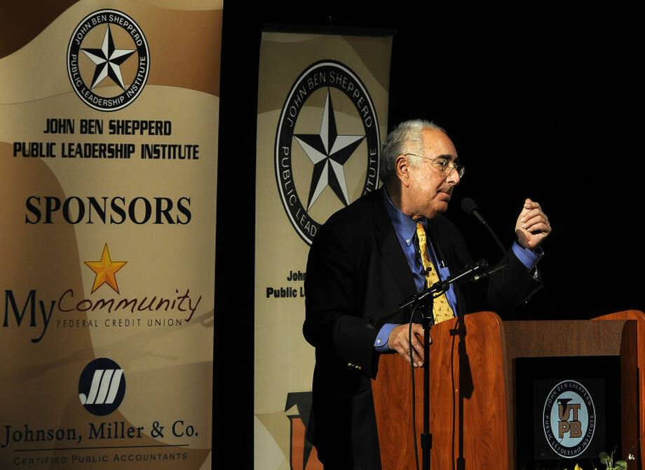 "Ben Stein makes his opening comments at the 36th JBS Distinguished Lecture focusing on the topic ""Blurred Lines: The National Economy: Whose Money Is It?"" Thursday evening at the Wagner Noël Performing Arts Center. Photo: Mark Sterkel