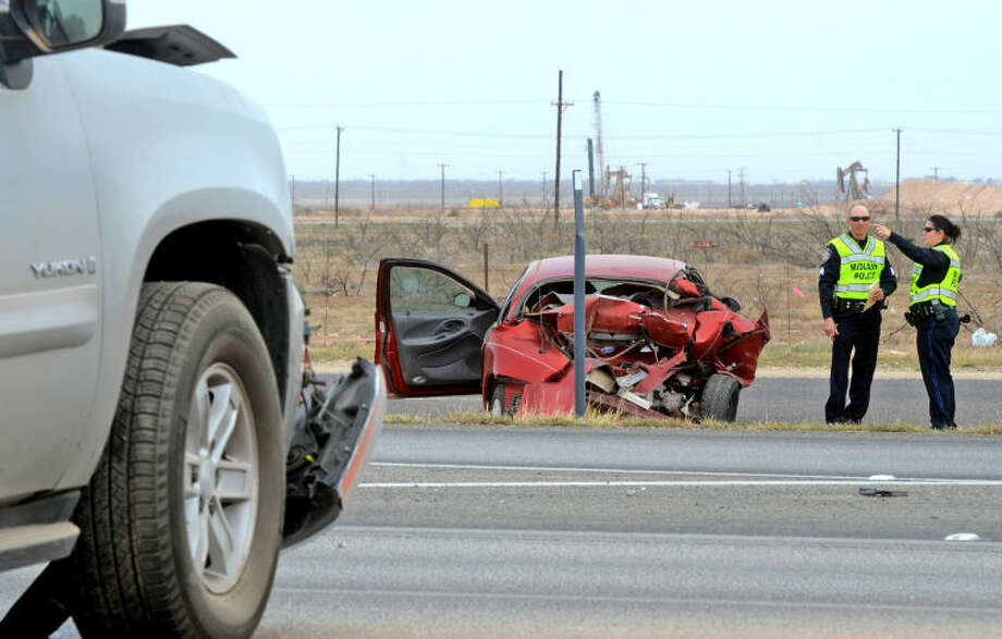 One man was transported to Midland Memorial Hospital after a two-vehicle accident on eastbound TX-191 near the FM 1788 exit Saturday. James Durbin/Reporter-Telegram Photo: JAMES DURBIN