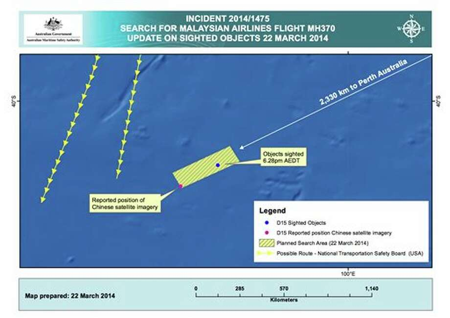 This Saturday, March 22, 2014 graphic provided by the Australian Maritime Safety Authority (AMSA), shows the approximate position of the objects seen floating in a Chinese satellite image in the southern Indian Ocean that the AMSA is concentrating its search for the missing Malaysia Airlines flight MH370 on. China on Saturday released a satellite image showing an object floating in a remote stretch of the southern Indian Ocean near where planes and ships have been crisscrossing since similar images from an Australian satellite emerged earlier in the week. Two military planes from China arrived Saturday in Perth and were expected on Sunday to join Australian, New Zealand and U.S. aircraft in the search. (AP Photo/Australian Maritime Safety Authority) Photo: HOPD / Australian Maritime Safety Authority