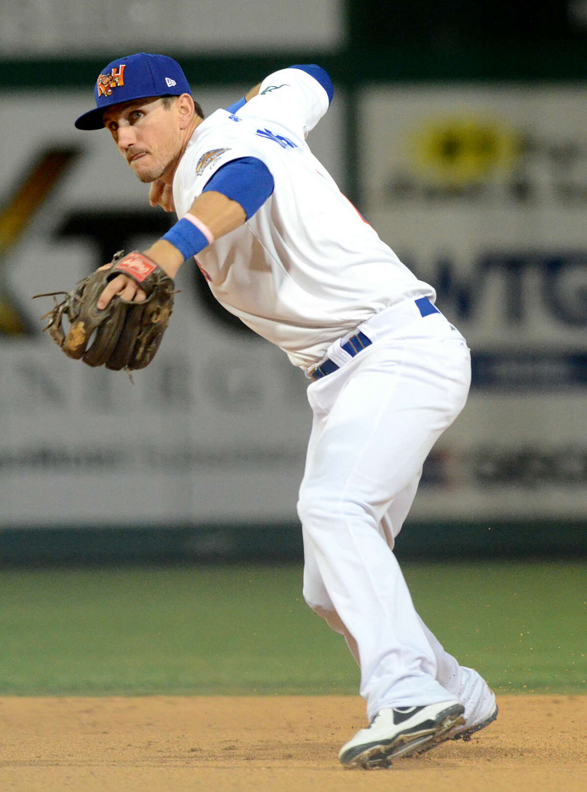 Rockhounds' Colin Walsh throws to first base for an out against San Antonio on Thursday, April 23, 2015, at Security Bank Ballpark. James Durbin/Reporter-Telegram