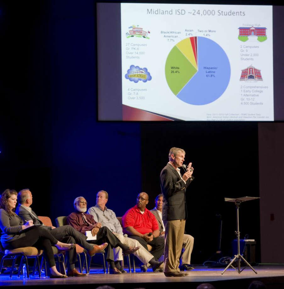 Rick Davis, MISD school board president, speaks Monday 04-04-16 on the needs of MISD during the first Educate Midland meeting. Tim Fischer\Reporter-Telegram Photo: Tim Fischer