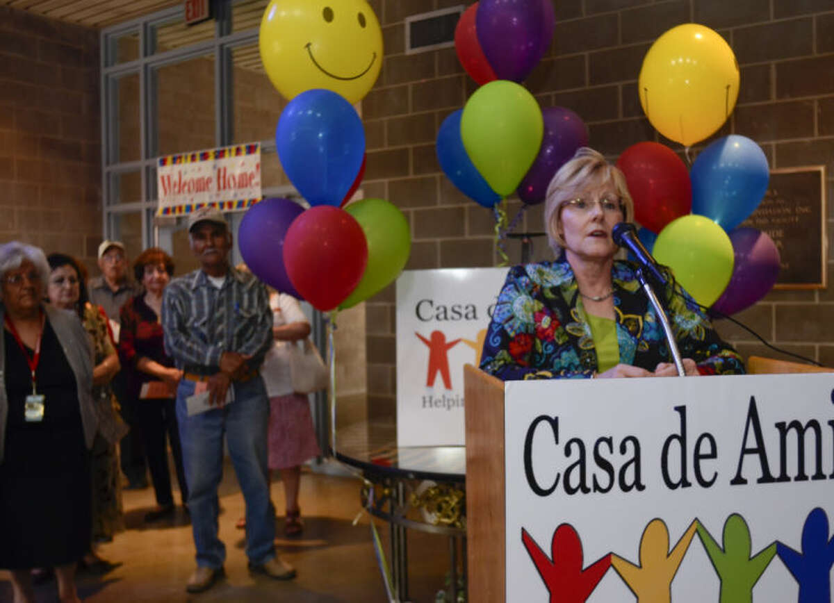 (2013 File Photo) lly Kvasnicka, Casa de Amigos campaign chairwoman, welcomes everyone to an open house Tuesday evening at the annual campaign kickoff event. Tim Fischer\Reporter-Telegram