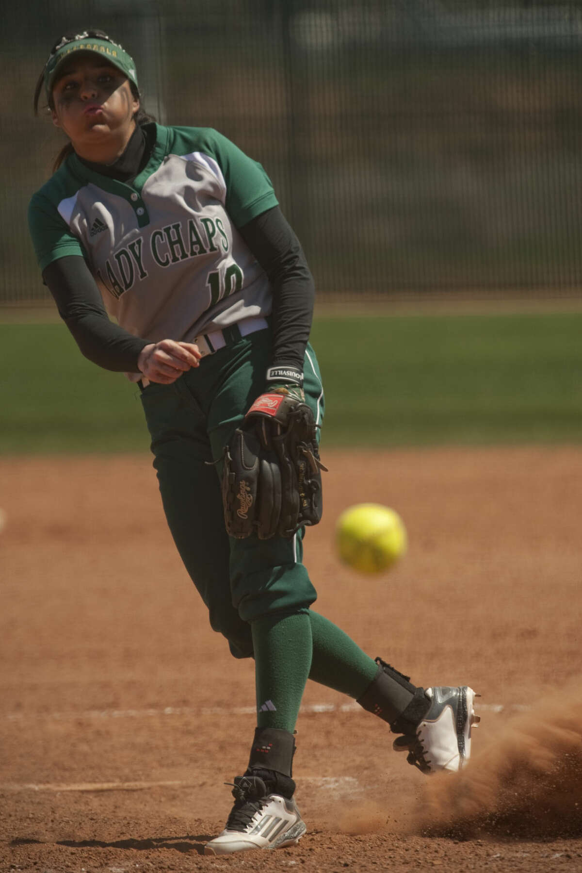 Midland College's Dominique Lozano Alocer delivers a pitch Friday, 3-27-15, in the first of a double header against Howard College. Tim Fischer\Reporter-Telegram