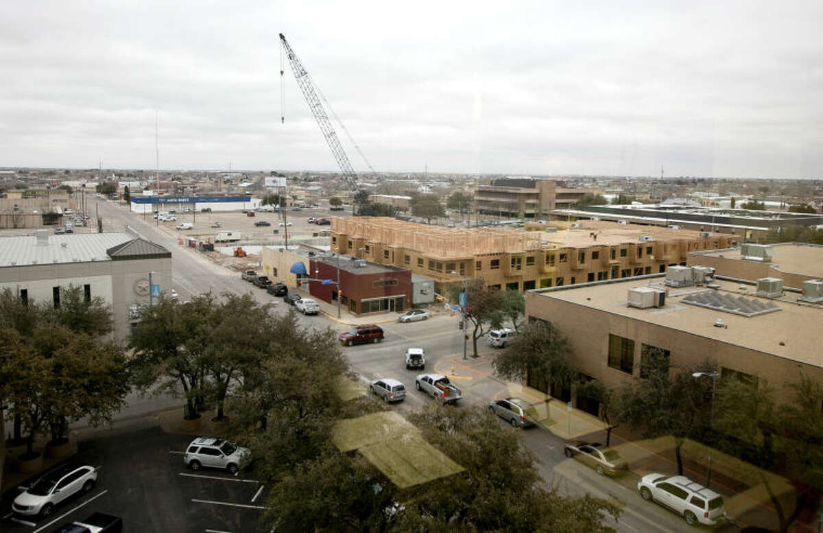 View of construction for Wall Street Lofts, photographed from the Permian Basin Area Foundation office on Feb. 11, 2014. James Durbin/Reporter-Telegram