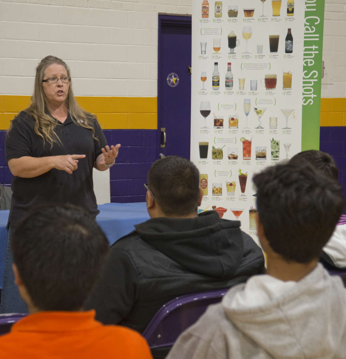 Debra Vessels, who lost her daughter to a drunk driver, speaks to Midland sophomores Wednesday 04-20-16 about the dangers of drunk or impaired driving as part of Stop DWI programs at MHS. Tim Fischer\Reporter-Telegram
