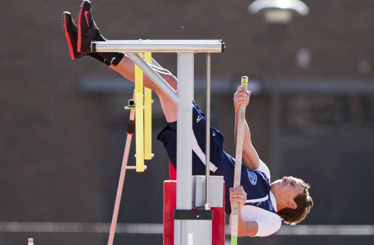 Greenwood's Hunter Wigington tries to vault over the 12-6 bar during the pole vault during the UIL Regional Track and Field Championship last year at R.P. Fuller Track and Field Complex in Lubbock.