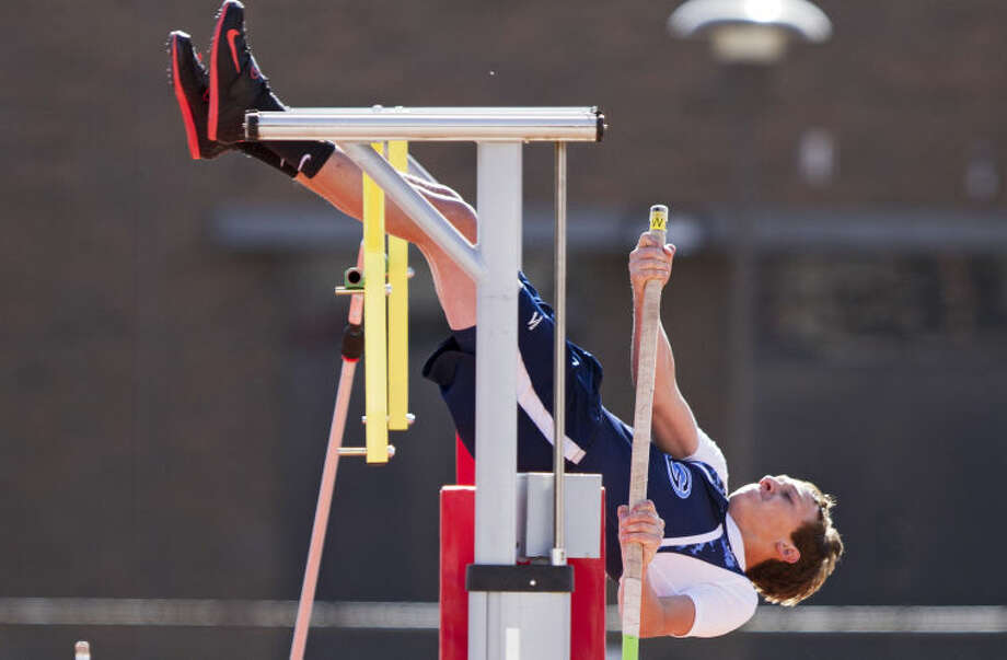 Greenwood's Hunter Wigington tries to vault over the 12-6 bar during the pole vault during the UIL Regional Track and Field Championship last year at R.P. Fuller Track and Field Complex in Lubbock. Photo: Brad Tollefson