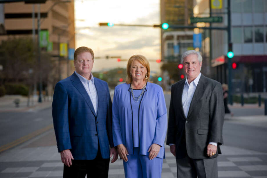 From left, Bill Kent, president of Kent Cos., Peggy Worthington, founding partner and business development manager at Bold Energy, and Tim Leach, president and CEO of Concho Resources, photographed for the cover of MRT Magazine's Business Insider, Feb. 24, 2014 on W. Wall Street in downtown Midland. James Durbin/Reporter-Telegram Photo: JAMES DURBIN