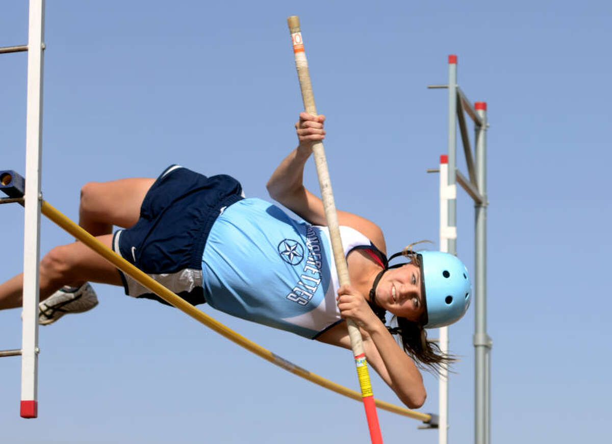 Greenwood's Hillarry Hanna competes in the high jump event during the Greenwood Invitational on Thursday at Greenwood High. James Durbin/Reporter-Telegram