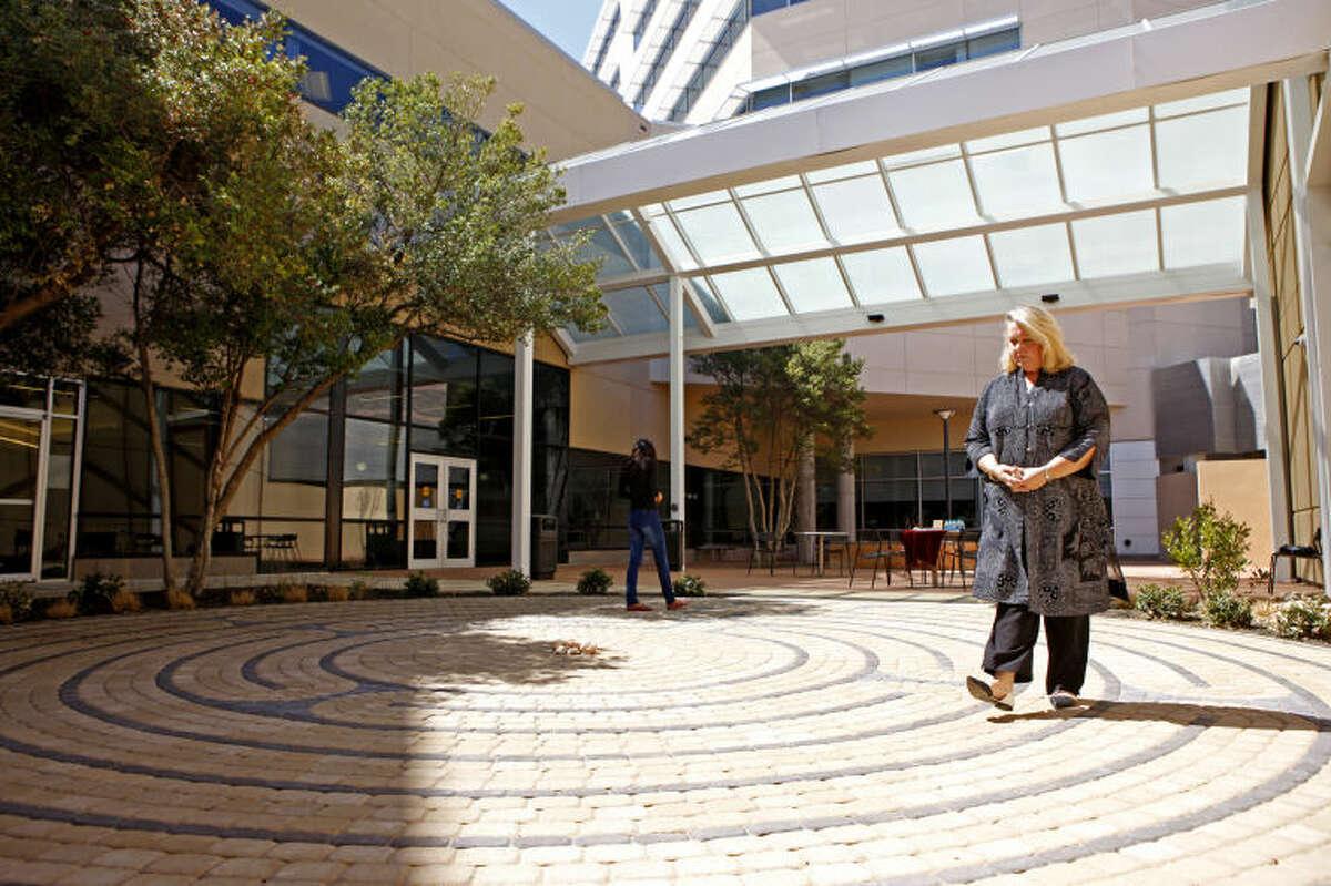J'Lynn Wheeler walks the labyrinth at Midland Memorial Hospital on Wednesday. James Durbin/Reporter-Telegram