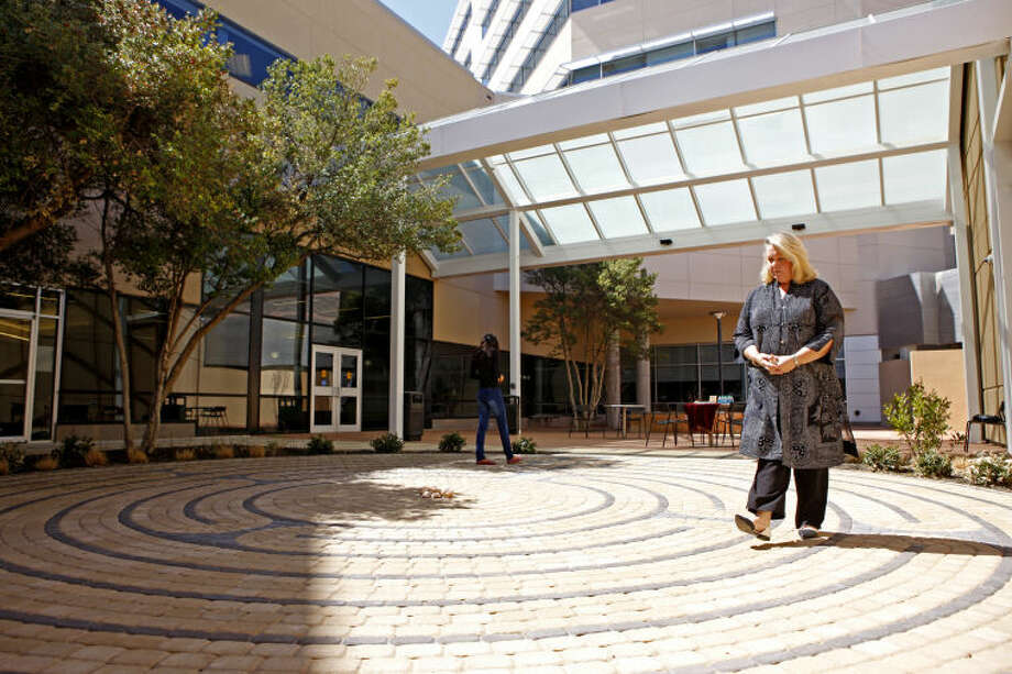 J'Lynn Wheeler walks the labyrinth at Midland Memorial Hospital on Wednesday. James Durbin/Reporter-Telegram Photo: JAMES DURBIN