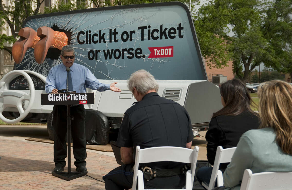 Robert Martinez, traffic Safety Specialist with TxDOT speaks Tuesday, 5-5-15, in Centennial Plaza in Midland during a kickoff event with TxDOT and the Click It or Ticket campaign. Tim Fischer\Reporter-Telegram