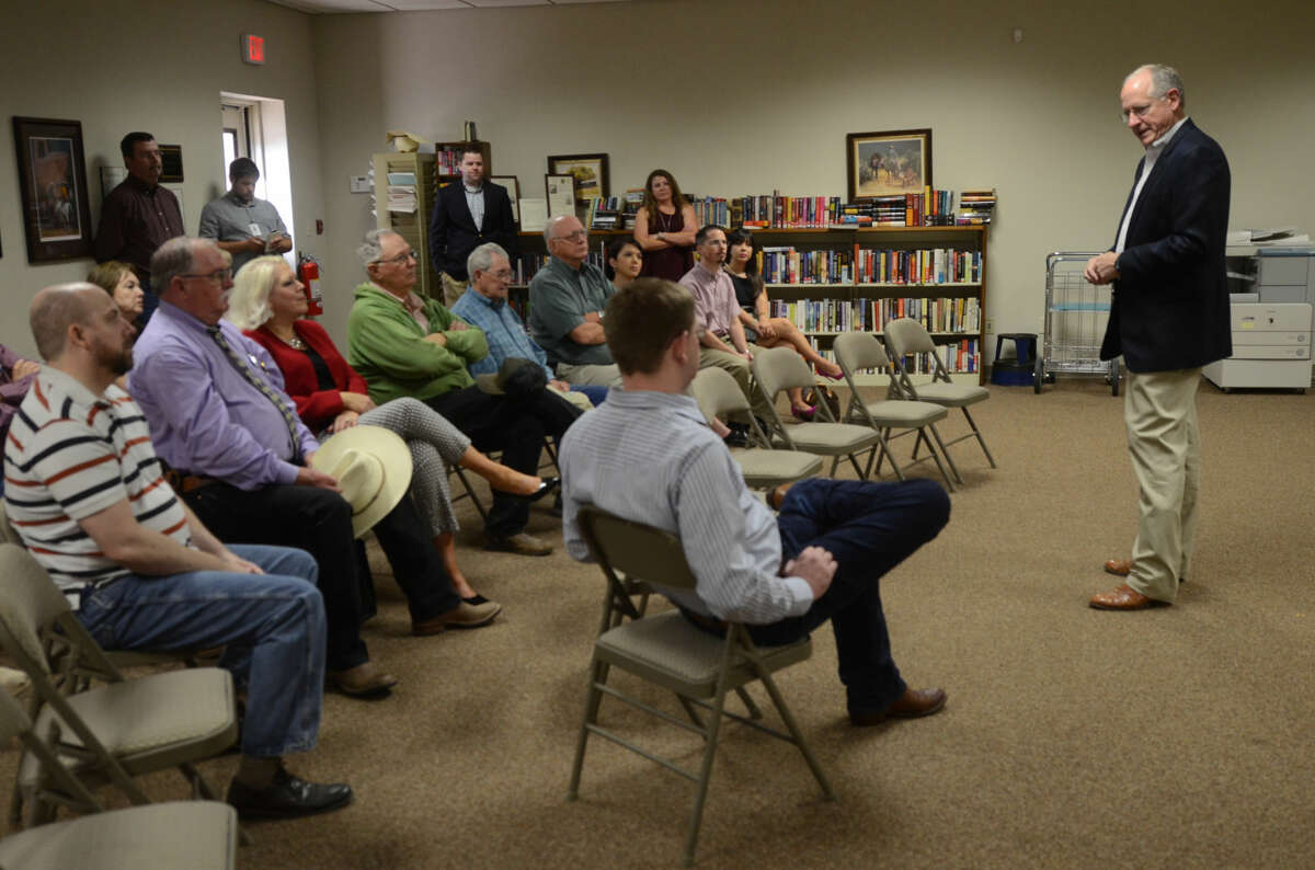 U.S. Representative Mike Conaway speaks during a town hall meeting Wednesday, May 6, 2015, at the library in Stanton. James Durbin/Reporter-Telegram