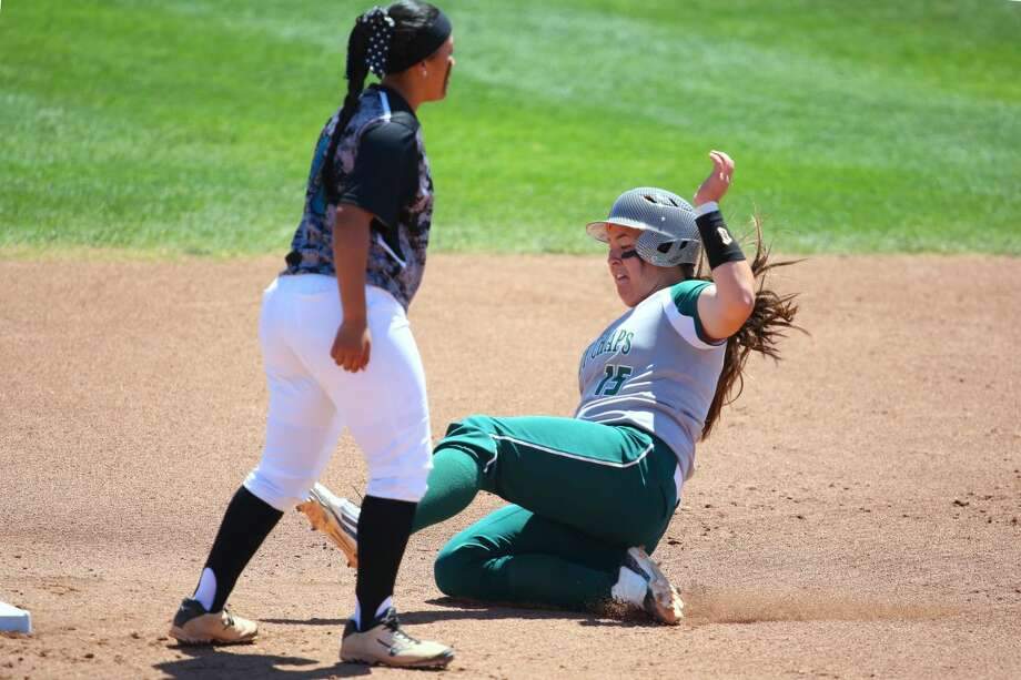 Midland College's Tyneesha Houkamau slides into second base against Luna Community College during the NJCAA Region V West Tournament on Friday, May 1 at Texas Tech's Rocky Johnson Field. Photo by Forrest Allen/MC Athletics