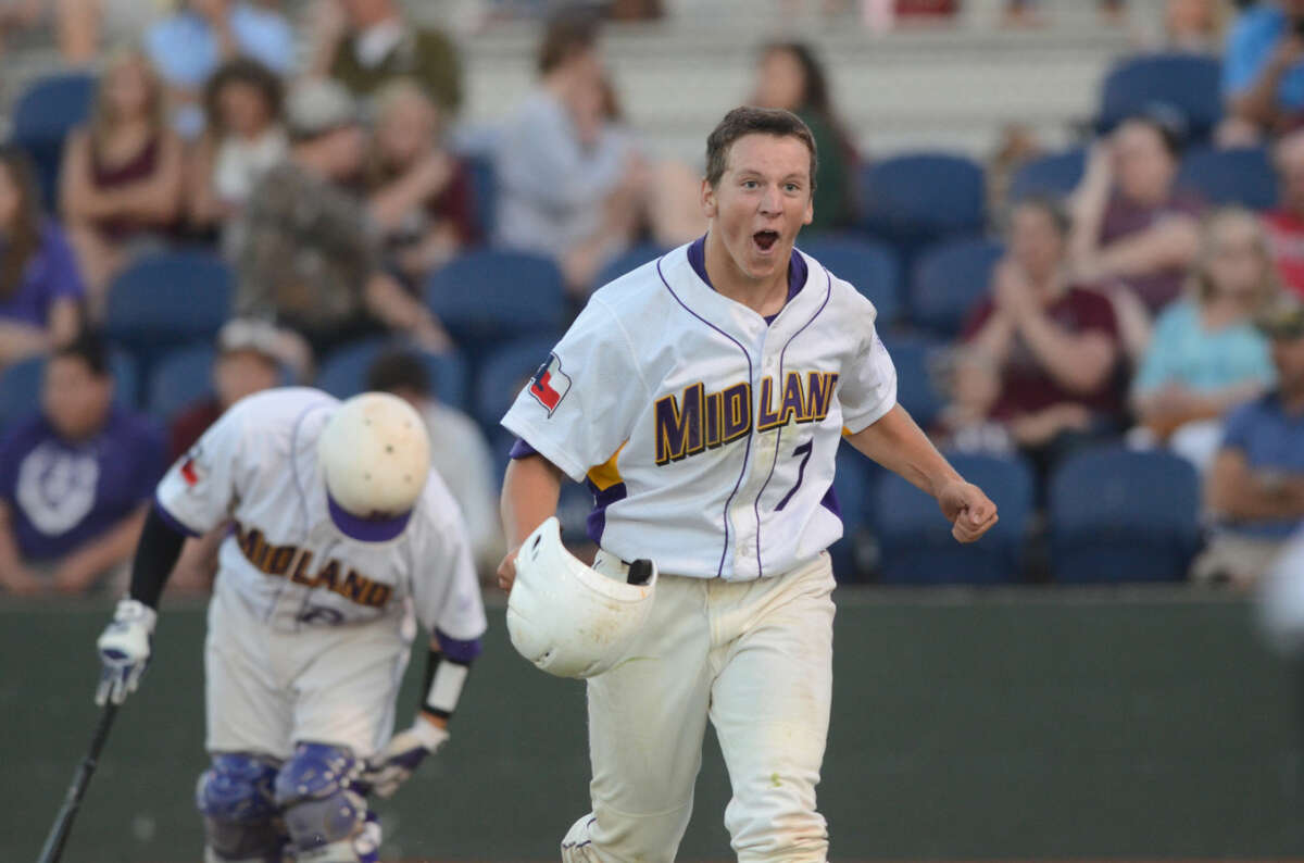 Midland High's Sam Bertleson (7) celebrates after scoring against Lee High on Friday, May 1, 2015 at Christensen Stadium. Midland High beat Lee High 10-2. James Durbin/Reporter-Telegram