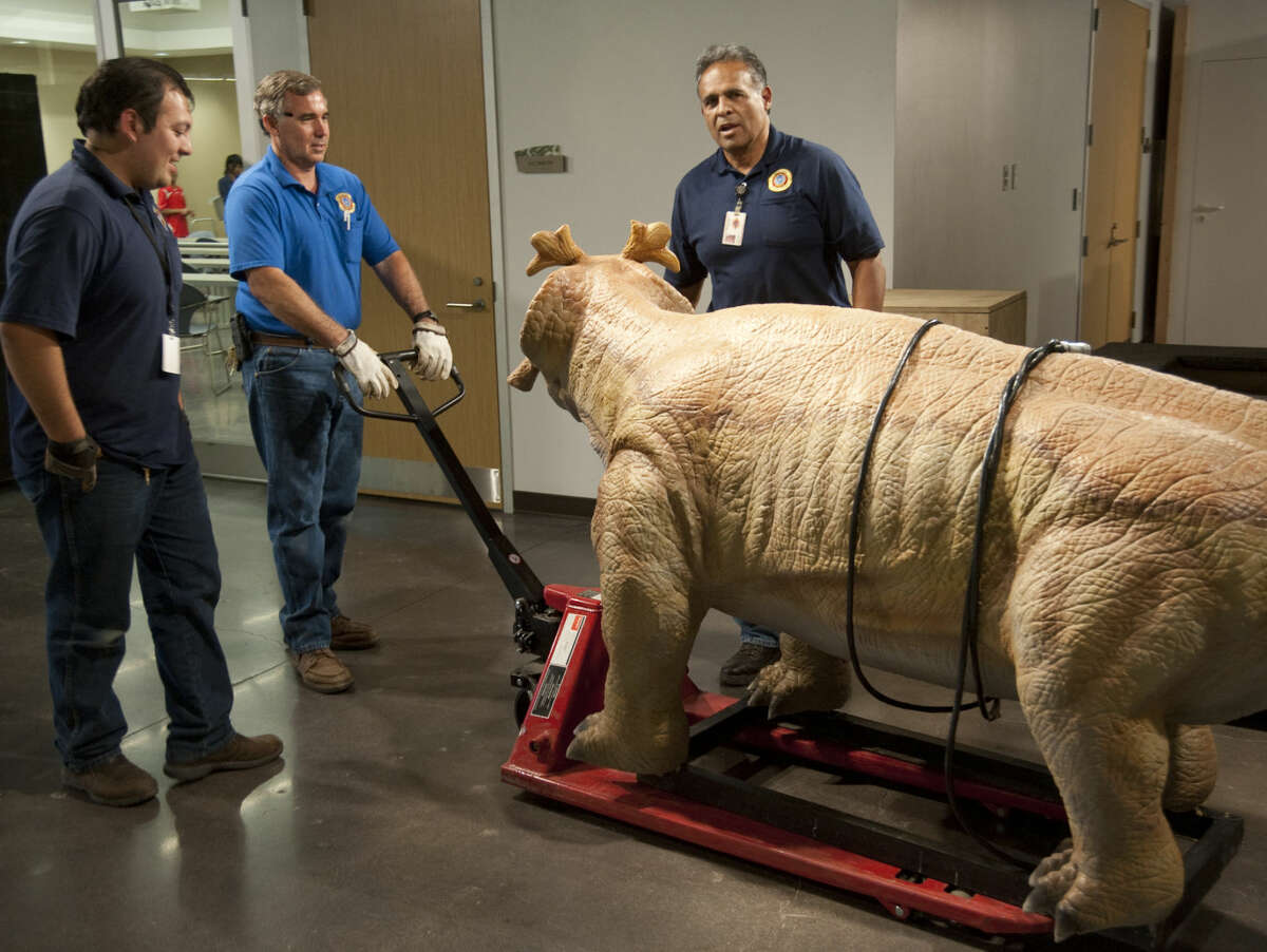 """Midland County Facilities employees, Stephen Bizzell pulling the dolly, Erik Lozano and George Gonzales bring in the last of the """"monsters"""" for the Permian Monster exhinit Tuesday, 4-21-15, at the Centennial Library. Tim Fischer\Reporter-Telegram"""