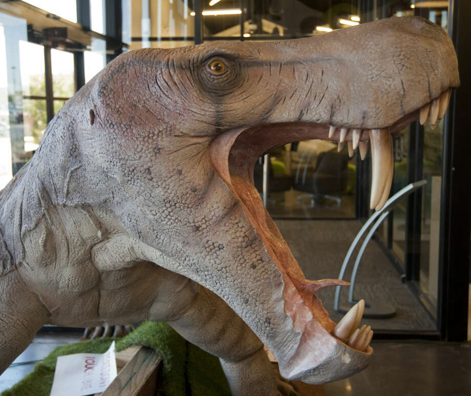 One of the sculptures for the Permian Monsters exhibit being set up Tuesday, 4-21-15, at the Centennial Library. Tim Fischer\Reporter-Telegram Photo: Tim Fischer