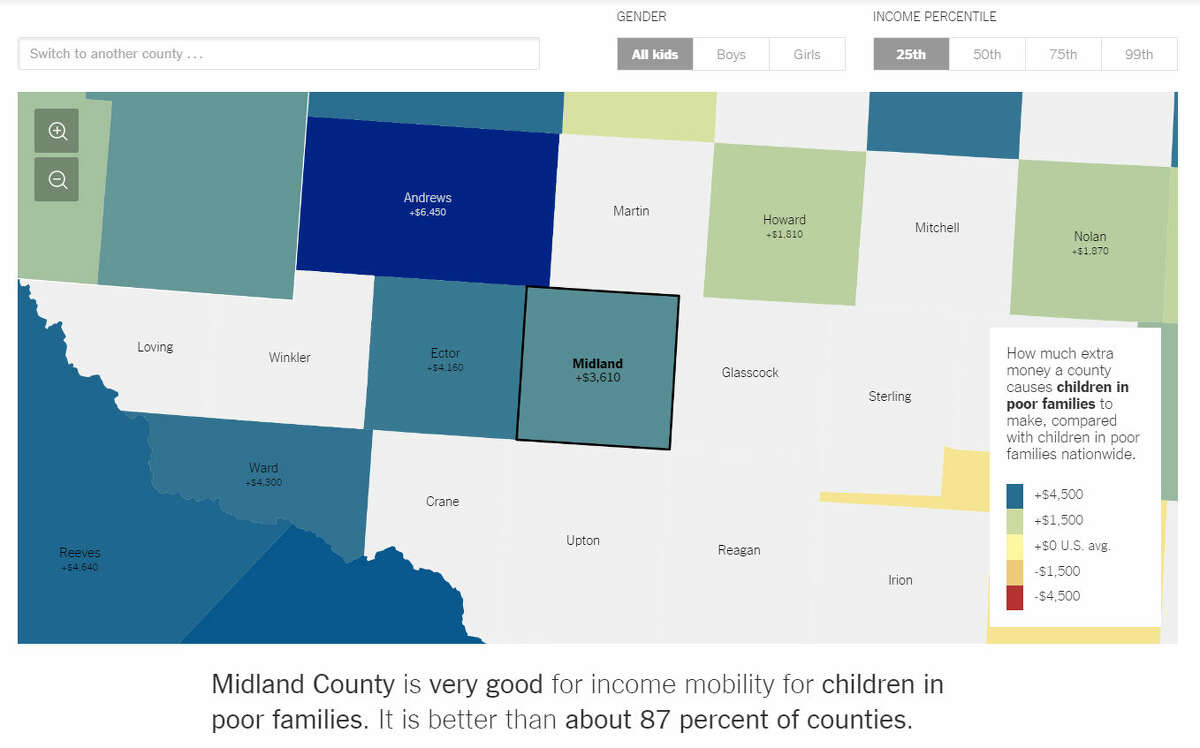 Click here to view the New York Times' interactive map of best and worst places to grow up in the United States.