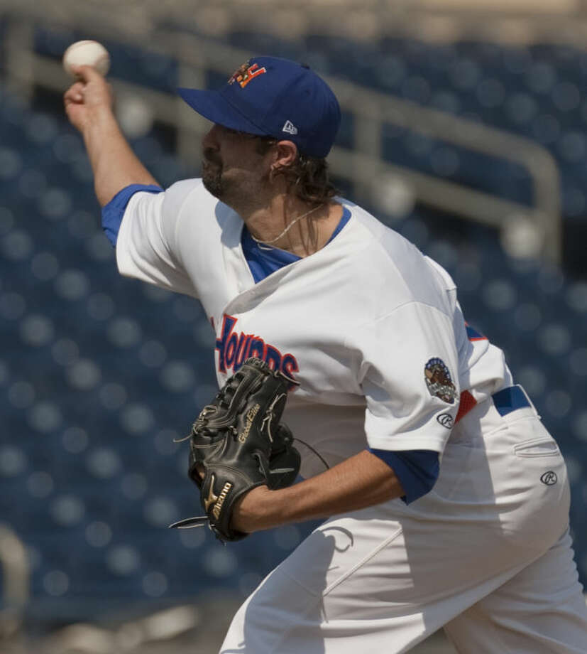 Hounds' starting pitcher Drew Granier delivers a pitch Monday afternoon at CitiBank Ballpark. Tim Fischer\Reporter-Telegram Photo: Tim Fischer