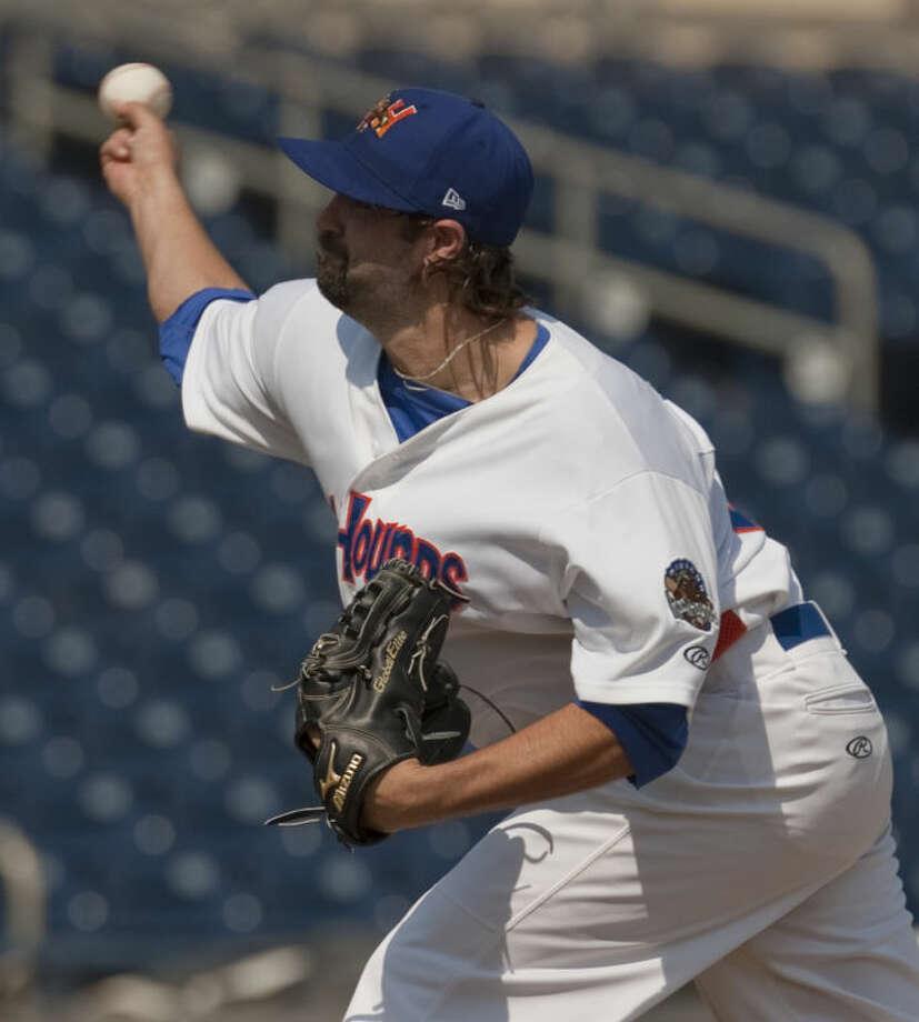 Hounds' starting pitcher Drew Granier delivers a pitch Monday afternoon at CitiBank Ballpark. Tim Fischer\Reporter-Telegram Photo: Tim Fischer