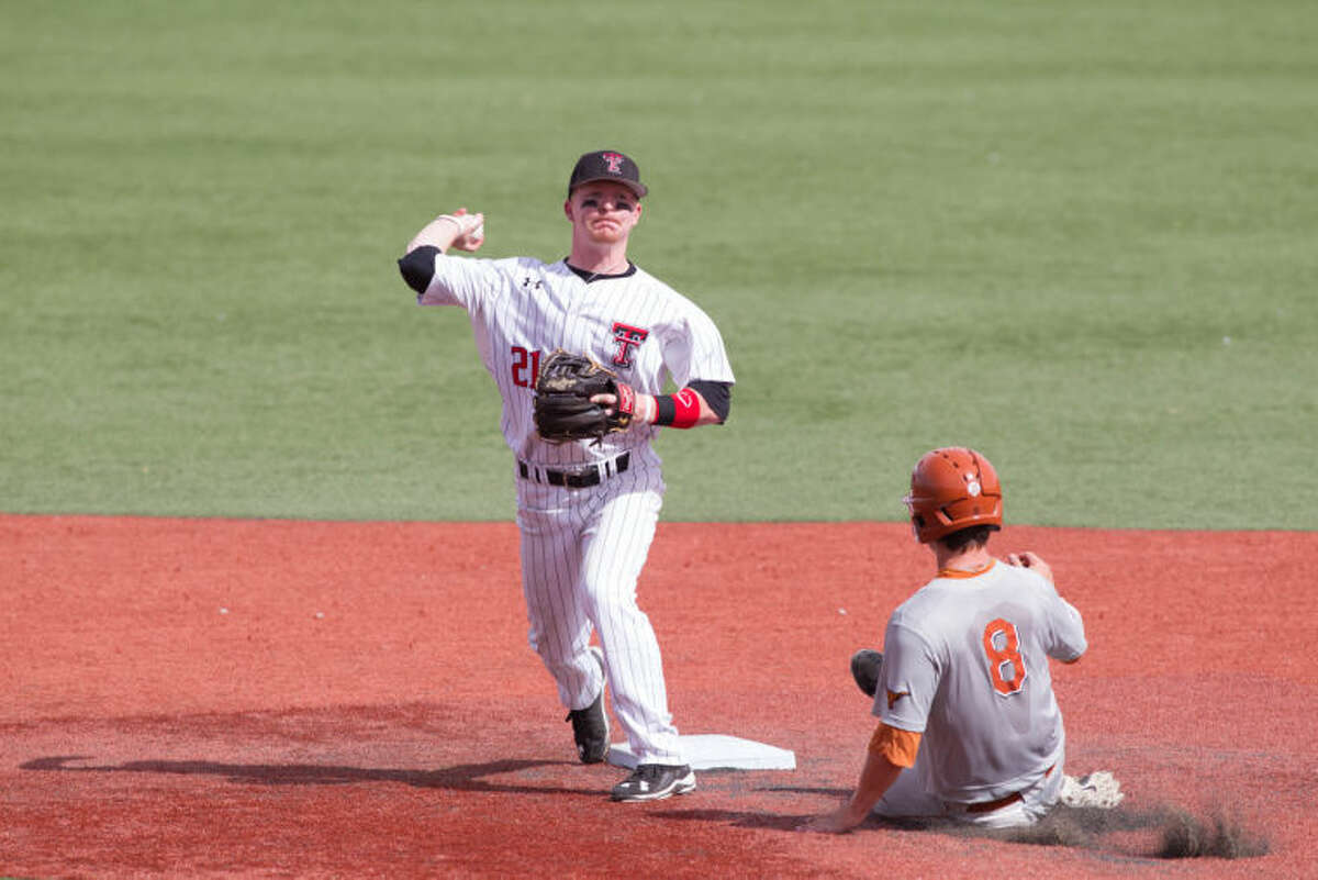 Texas Tech second baseman Bryant Burleson, a Midland Christian grad, tries to turn a double play during this past weekend's series with Texas. Burleson at the Red Raiders will play at Security Bank Ballpark on Tuesday in a non-conference game against New Mexico. Texas Tech Athletic Communications