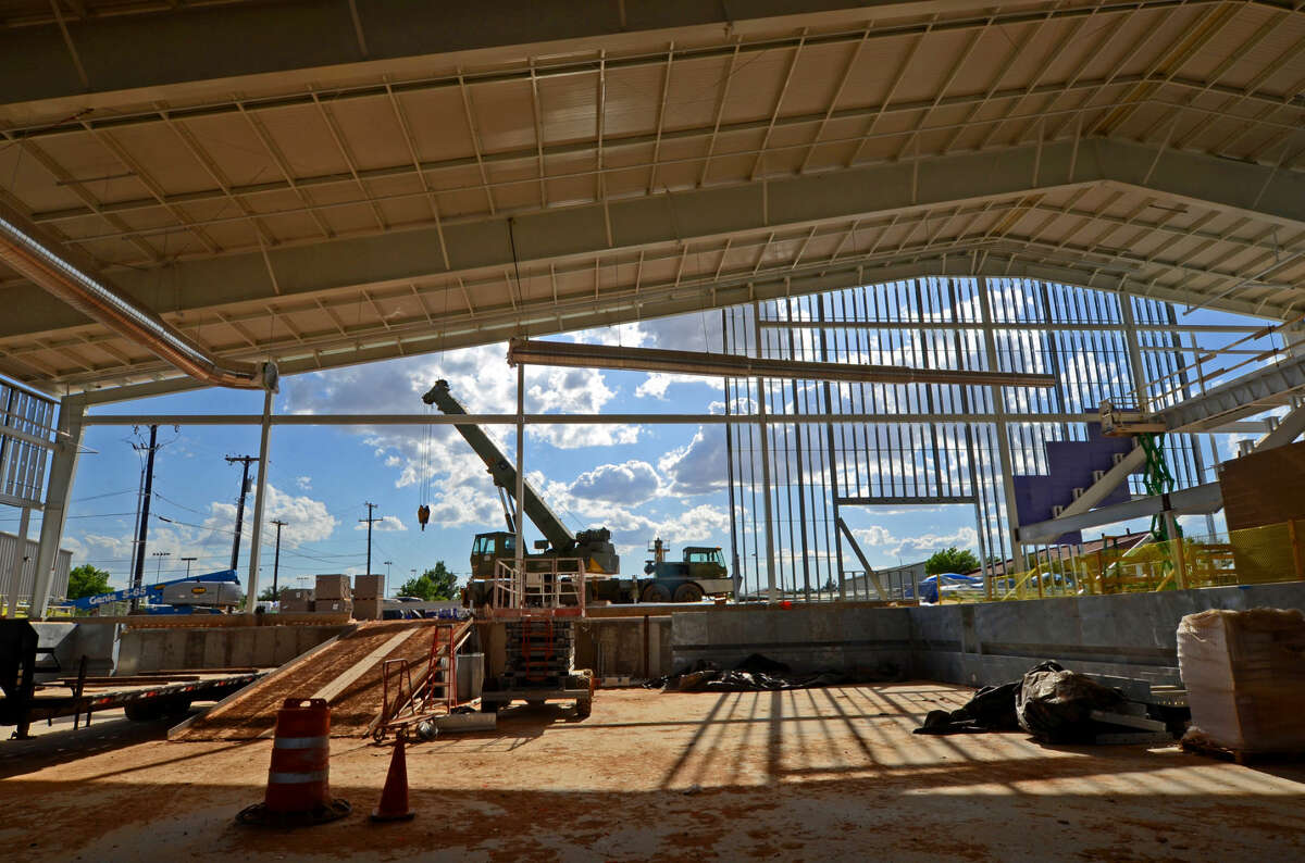 Construction continues on the COM natatorium facility near the corner of Wadley and A Street, photographed May 5, 2015. James Durbin/Reporter-Telegram