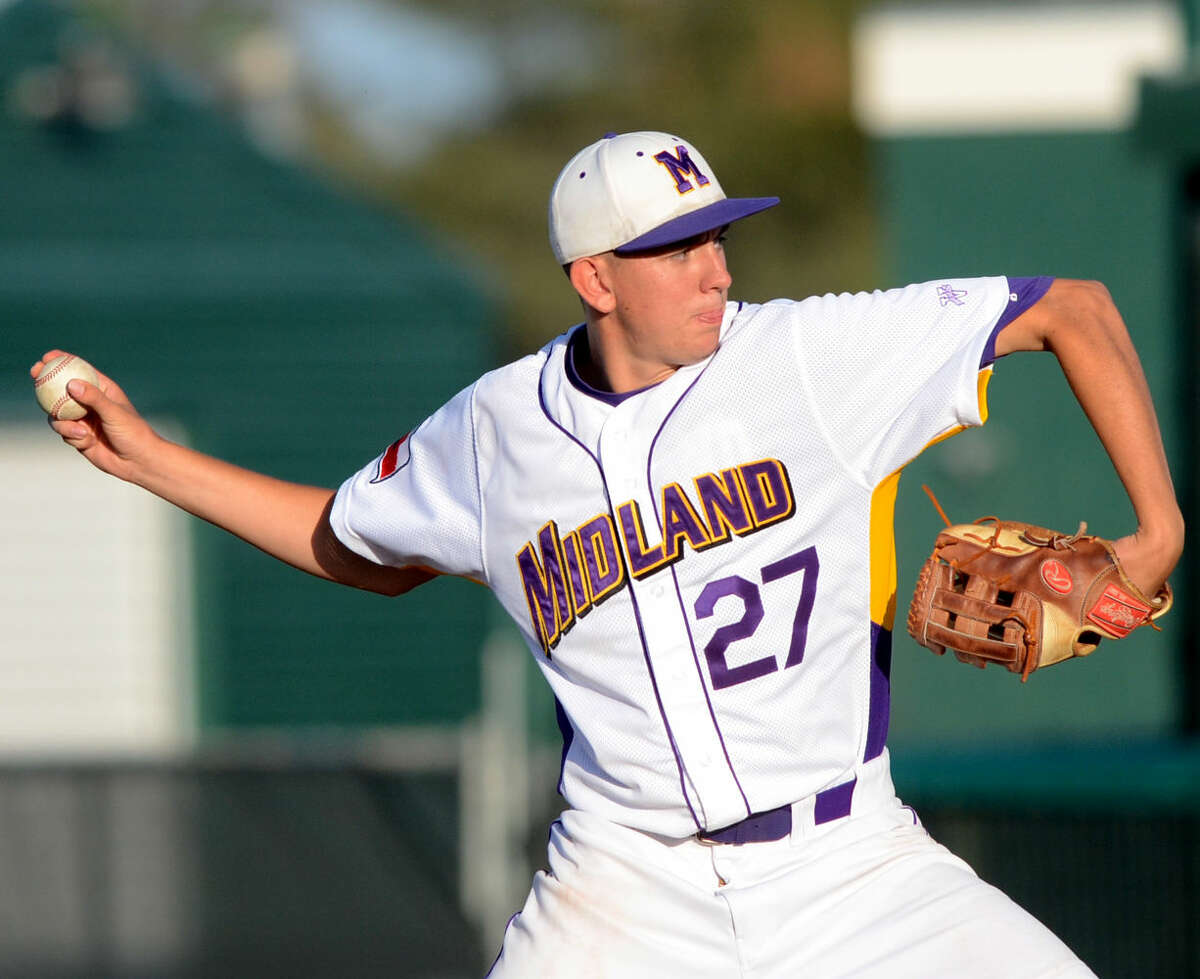 Midland High's Blake Canis pitches against Arlington Lamar in game three of the 6A bi-district playoff on Saturday, May 9, 2015 at Christensen Stadium. James Durbin/Reporter-Telegram