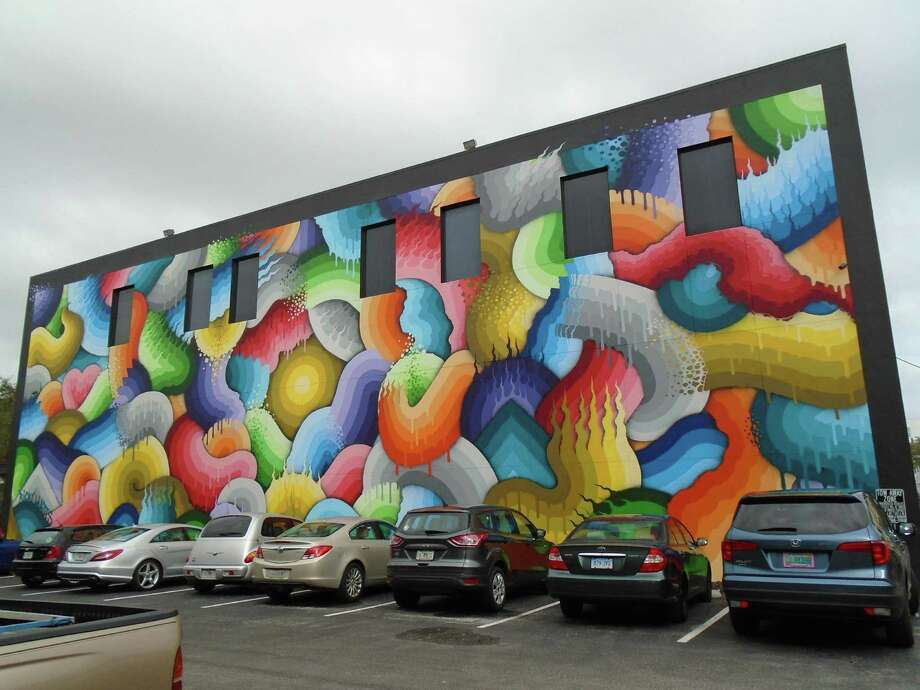 This huge mural, named Space Rainbows, was painted by California artist Ricky Watts on the Sage Building in St. Petersburg's Central Arts District. Photo: Robin Soslow / Copyright 2009
