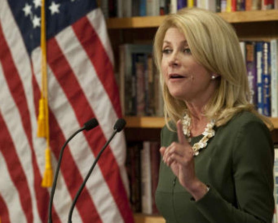Wendy Davis speaks Wednesday during a campaign stop in Midland. Tim Fischer\Reporter-Telegram Photo: Tim Fischer